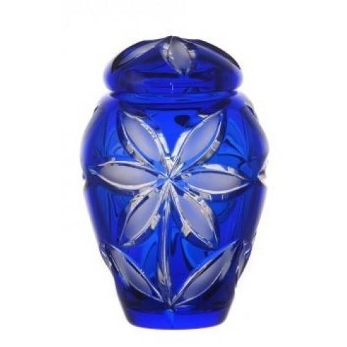 Urna Linda, cristallo, colore blu opaco, altezza 120 mm