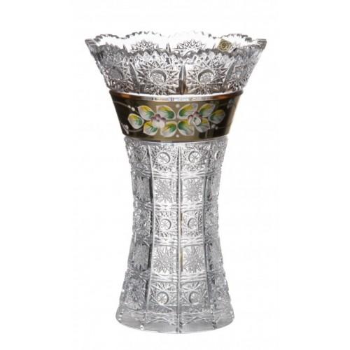 Vaso II, cristallo trasparente dipinto oro, altezza 255 mm