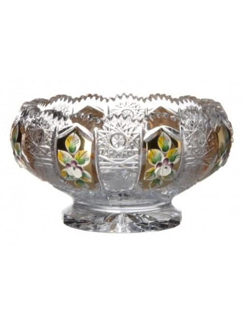 Ciotola, cristallo trasparente dipinto oro, diametro 128 mm