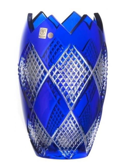 Vaso Colombine I, cristallo, colore blu, altezza 255 mm