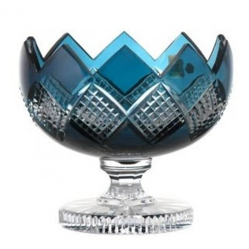 Portafrutta Colombine, cristallo, colore azzurro, diametro 180 mm
