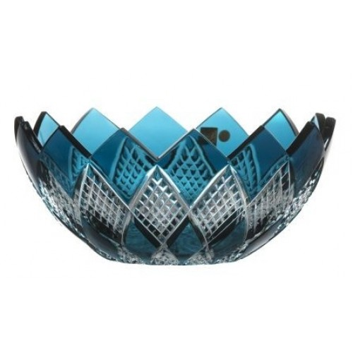 Insalatiera Colombine, cristallo, colore azzurro, diametro 250 mm