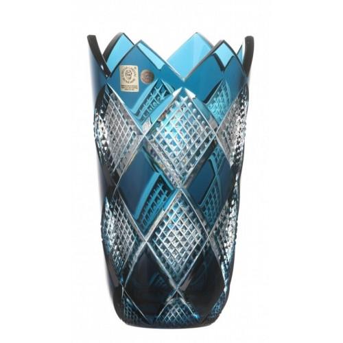 Vaso Colombine I, cristallo, colore azzurro, altezza 255 mm