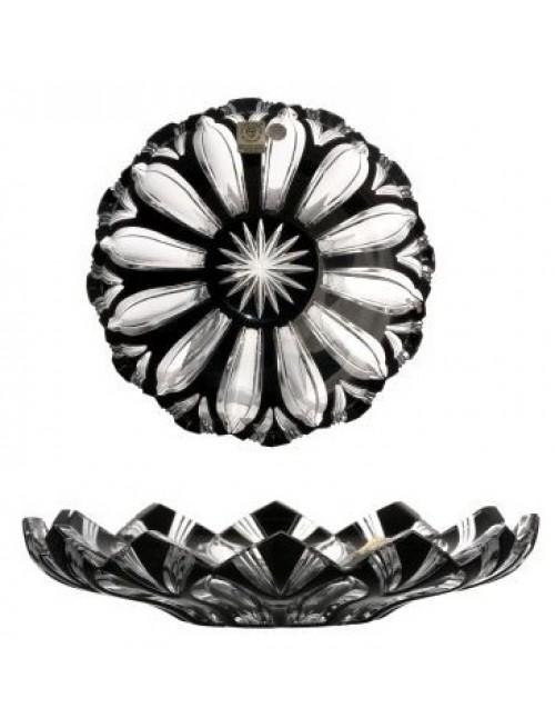 Piatto Lotos, cristallo, colore nero, diametro 180 mm