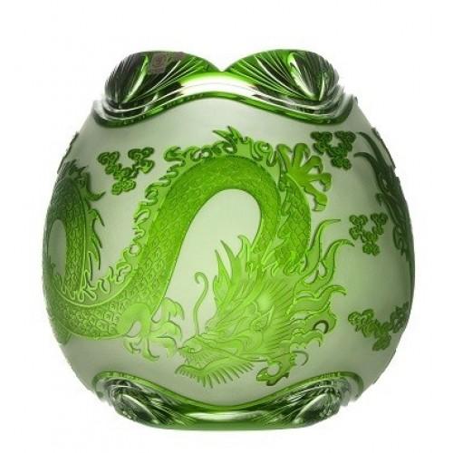 Vaso Drago, cristallo, colore verde, altezza 280 mm