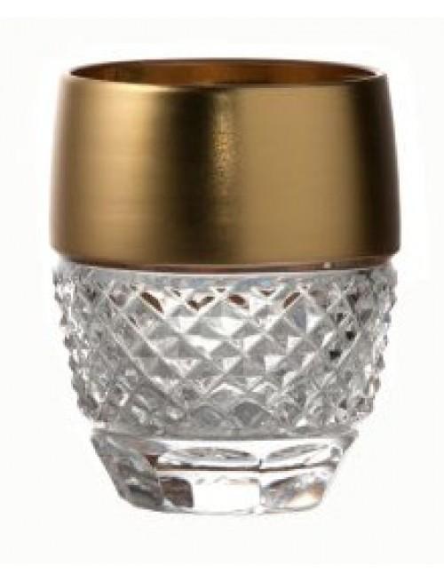 Bicchiere, cristallo trasparente dipinto oro, volume 50 ml