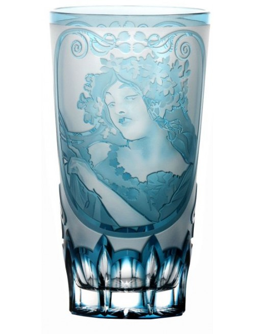 Bicchiere Mucha, cristallo, colore azzurro, volume 320 ml