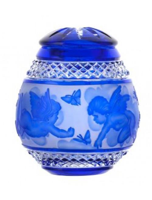 Urna Putto, cristallo, colore blu, altezza 145 mm
