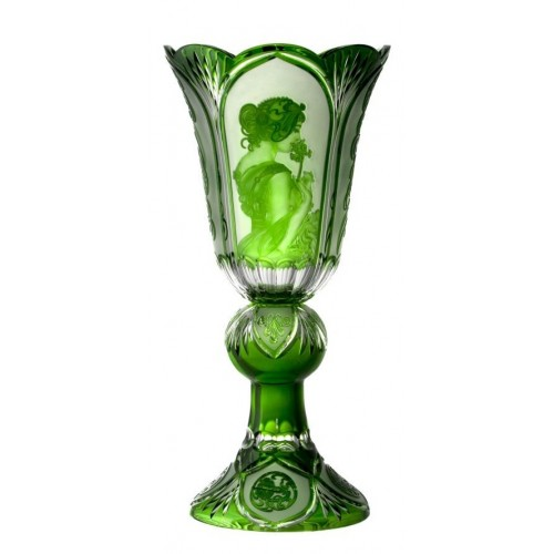 Vaso Mucha, cristallo, colore verde, altezza 505 mm