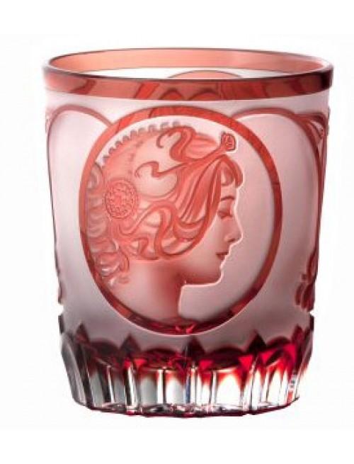 Bicchiere Mucha, cristallo, colore rosso, volume 290 ml