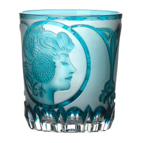 Bicchiere Mucha, cristallo, colore azzurro, volume 290 ml