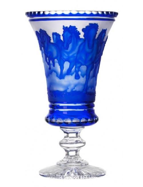 Vaso Cavalli - branco, cristallo, colore blu, altezza 475 mm