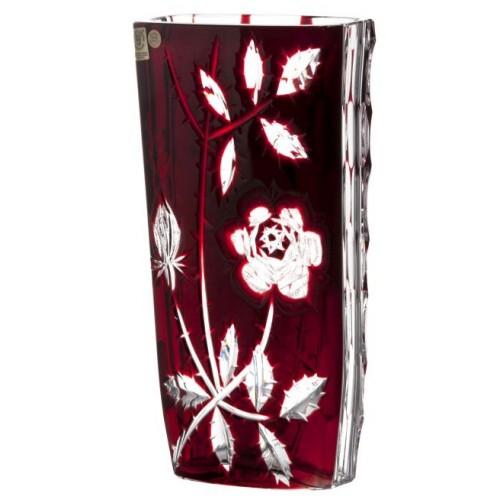 Vaso Rose, cristallo, colore rosso, altezza 255 mm