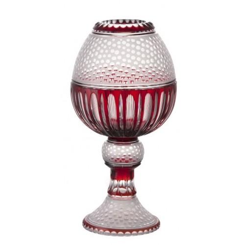 Vaso Dalmata, cristallo, colore rosso, altezza 510 mm