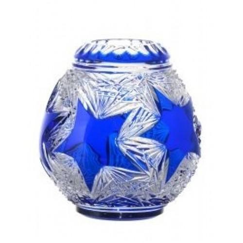 Vaso Stella, cristallo, colore blu, diametro 155 mm