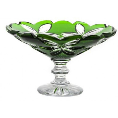 Portafrutta Linda, cristallo, colore verde, diametro 280 mm