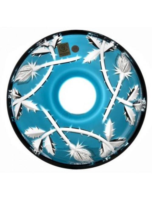 Piatto Rose, cristallo, colore azzurro, diametro 180 mm