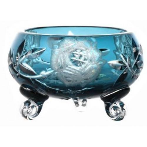 Ciotola Rose, cristallo, colore azzurro, diametro 114 mm