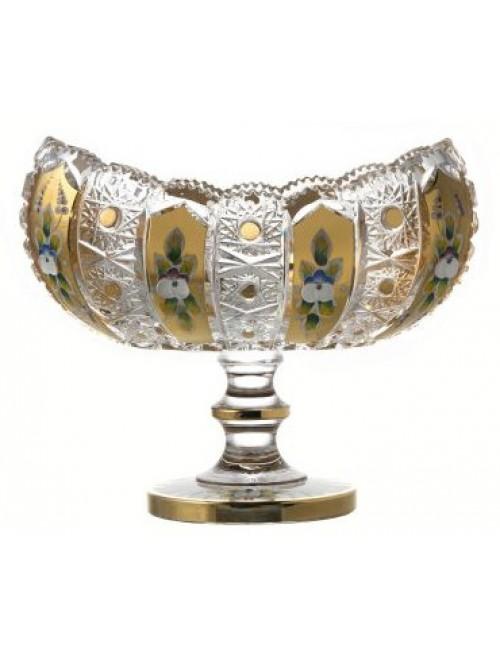 Portafrutta 500PK, cristallo trasparente dipinto oro, diametro 255 mm