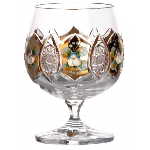Bicchiere Brandy, cristallo trasparente dipinto oro, volume 250 ml