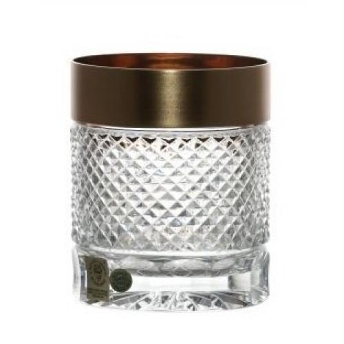 Bicchiere Whisky, cristallo trasparente dipinto oro, volume 320 ml