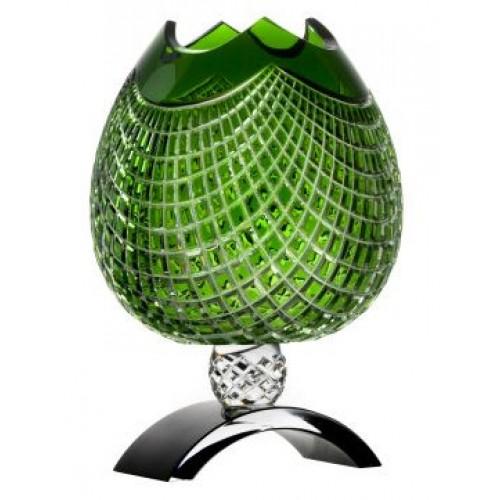 Vaso Quadrus, cristallo, colore verde, altezza 316 mm