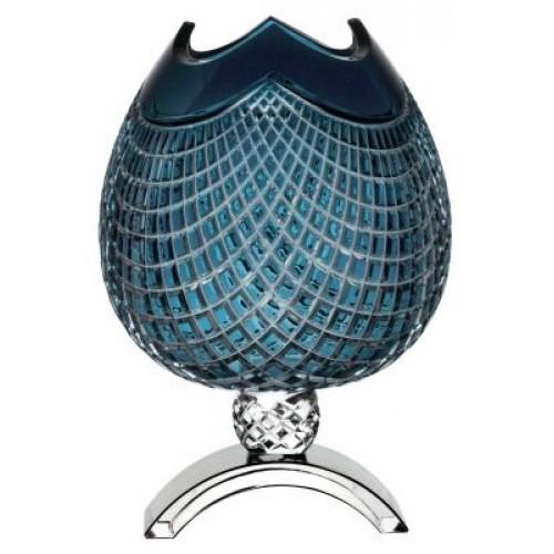 Vaso Quadrus, cristallo, color azzurro, altezza 386 mm