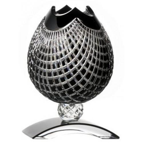 Vaso Quadrus, cristallo, colore nero, altezza 181 mm