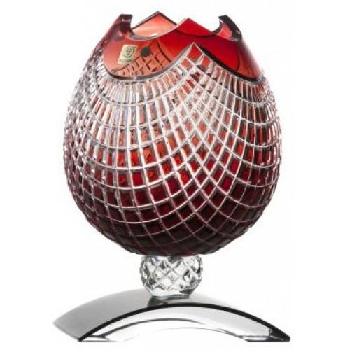 Vaso Quadrus, cristallo, colore rosso, altezza 181 mm