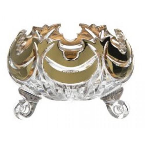 Insalatiera Diadem, cristallo trasparente dipinto oro, diametro 114 mm