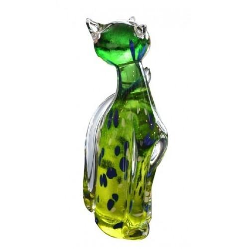 Gatto artigianale, vetro, multicolore, altezza 170 mm