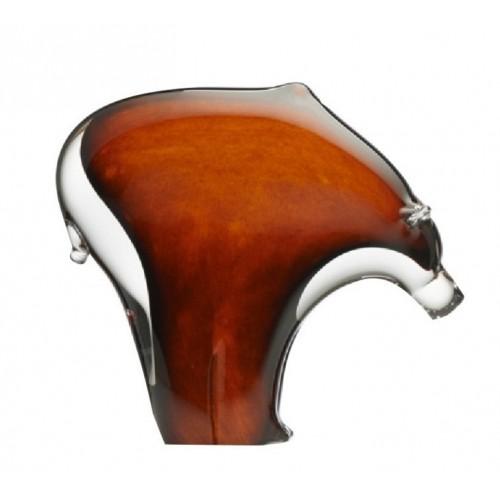 Orso artigianale, vetro, colore ambra, altezza 180 mm