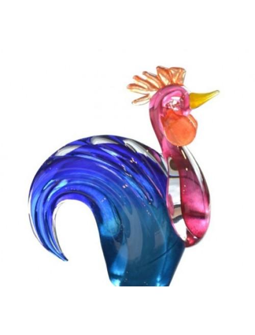 Gallo artigianale, vetro, multicolore, altezza 190 mm