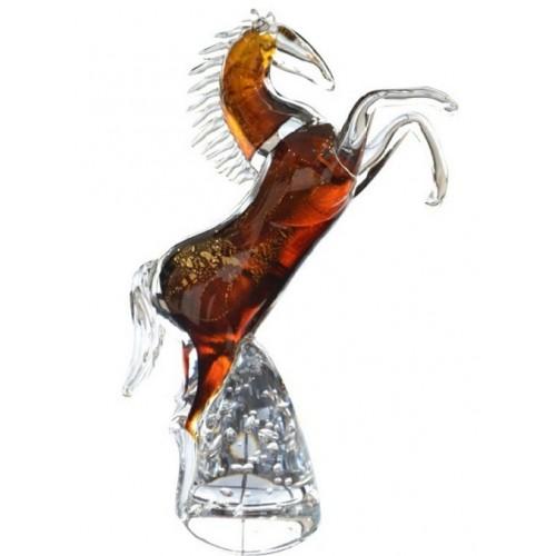 Cavallo artigianale, vetro, colore ambra, altezza 340 mm