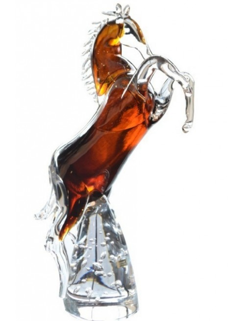 Cavallo artigianale, vetro, colore ambra, altezza 360 mm