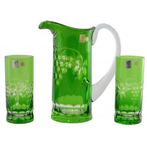 Set Grapes, cristallo, colore verde, volume 900 ml + 2x 350 ml