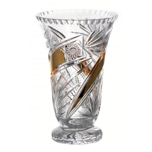 Vaso Cometa, cristallo trasparente dipinto oro, altezza 305 mm